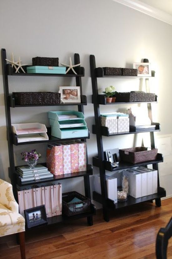 Home Office Organizing With Leaning Black Open Shelving Units