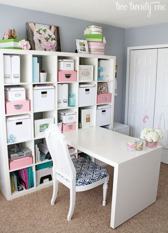Home Office Organizing With N IKEA Expedit Shelving Unit