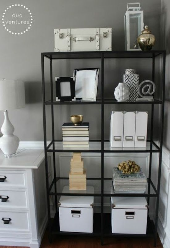 Home Office Organizing With Simple Black Open Shelving Unit