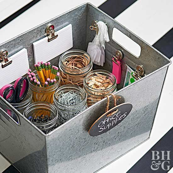 Home Office Organizing With Simple Box With Jars