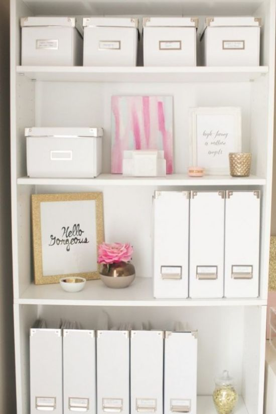 Home Office Organizing With Storage Unit With Boxes And Files