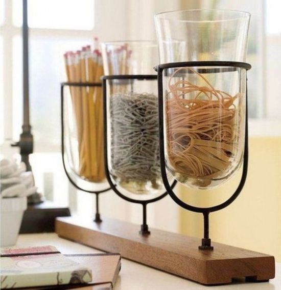 Home Office Organizing With Wooden Shelf With Glass Jars