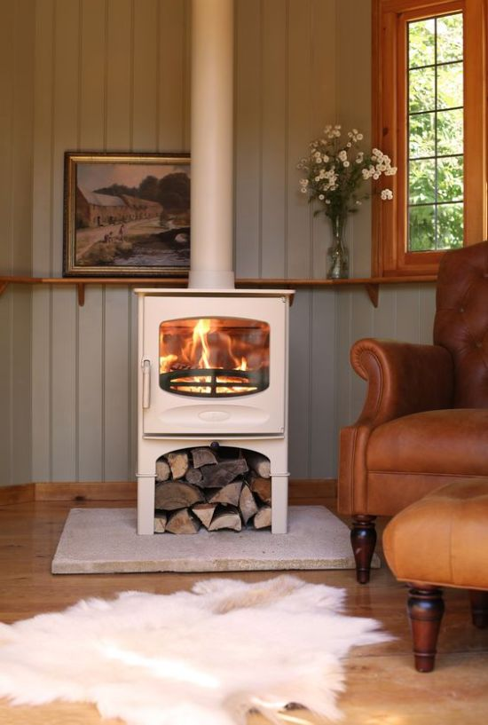 Home Wood Burning Stove With Firewood