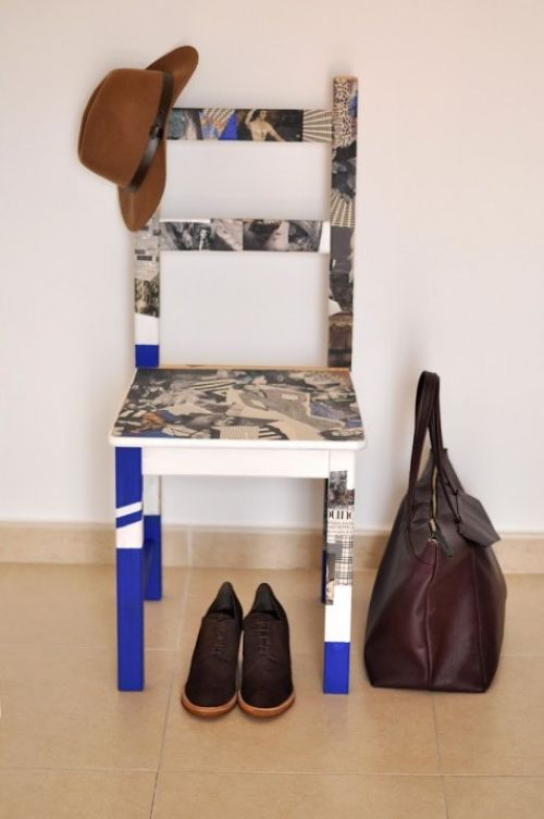IKEA IVAR Chair Decoupaged With Old Magazines