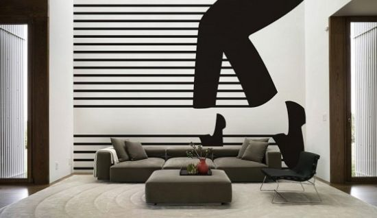 Living Room With A Black Graphic Wall Mural