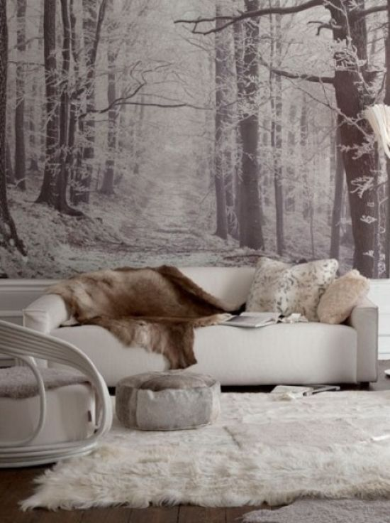 Living Room With Black And White Woodland Wall Mural