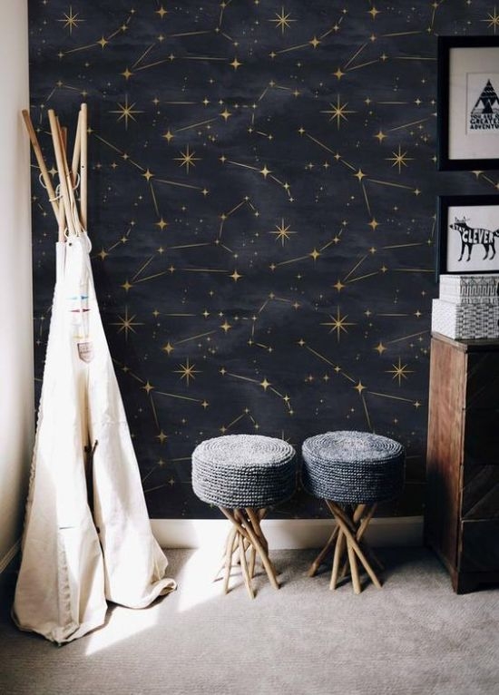 Living Room With Celestial Black And Gold Wall Mural