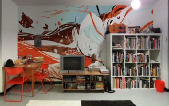 Living Room With Colorful Abstract Wall Mural