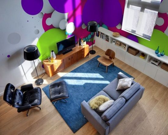 Living Room With Colorful And Bright Wall Murals