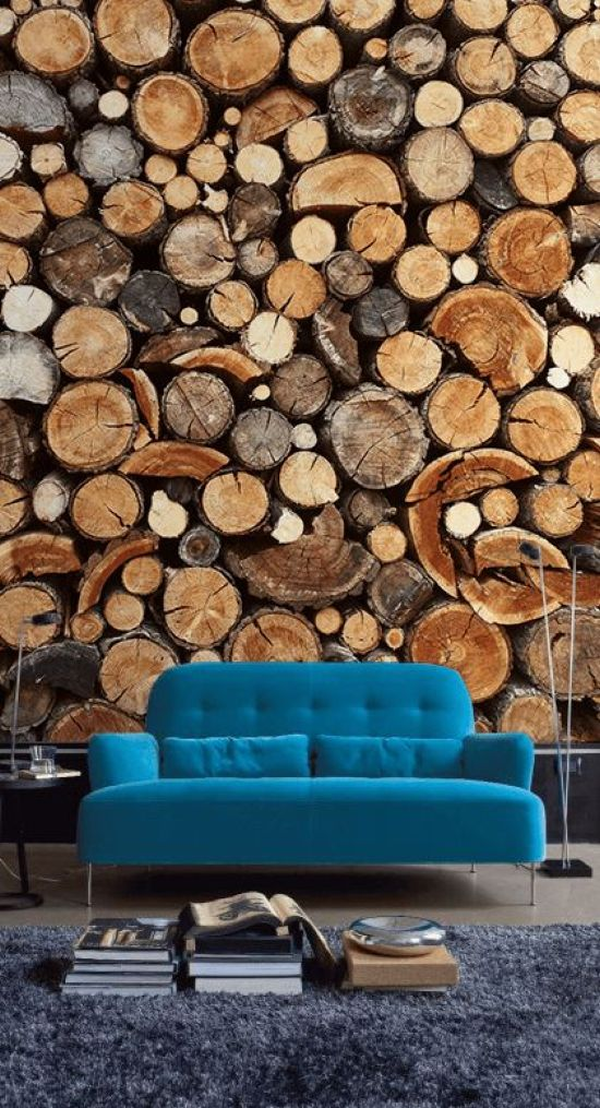 Living Room With Wood Slice Wall Mural