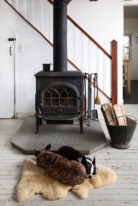 Modern Farmhouse Space With Home Wood Burning Stove