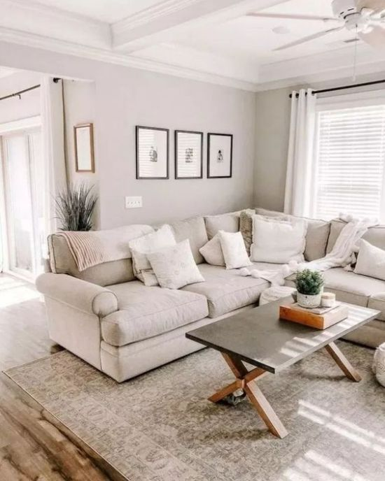 Neutral And Stylish Living Room Decor With A Pattern