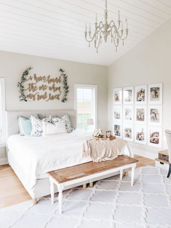 Neutral Bedroom Decor With A Cool Gallery Wall