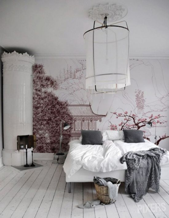 Nordic Bedroom With Pink Japanese Wall Mural With Sakura