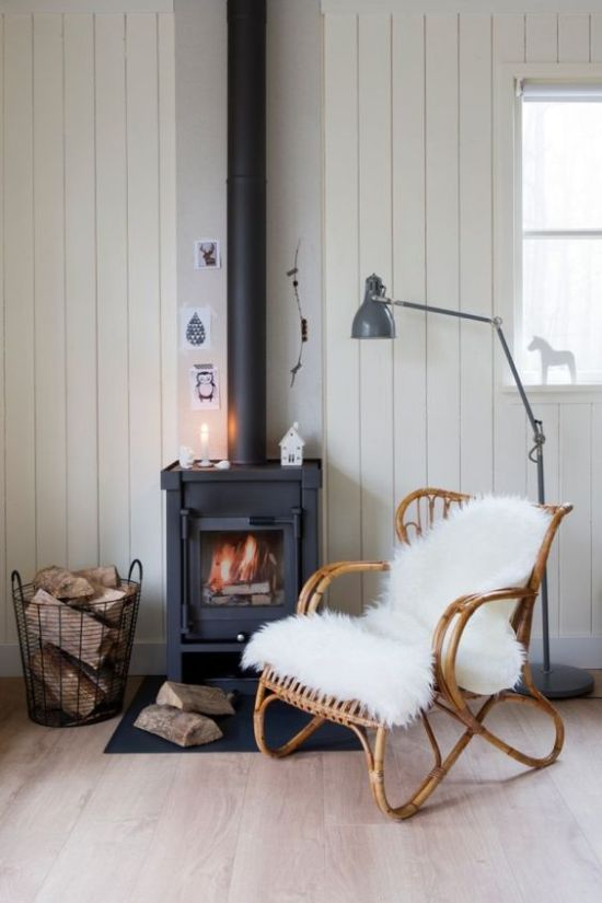 Nordic Nook With Home Wood Burning Stove With Basket