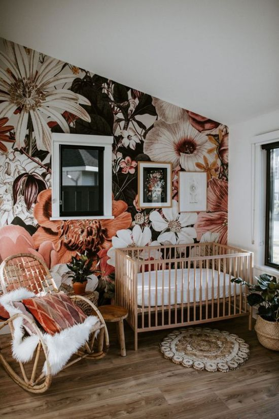 Nursery With A Bold Floral Wall Mural