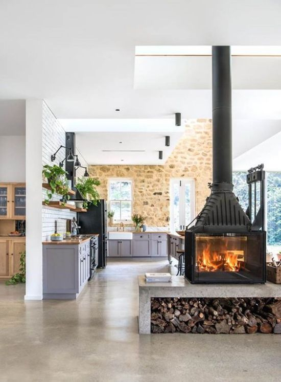 Oversized Wood Burning Stove On A Concrete Platform