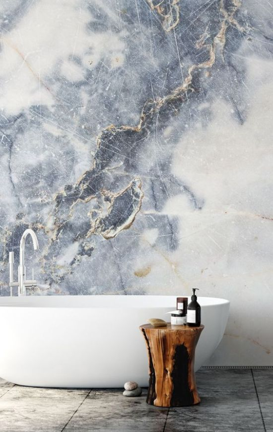 Refined Bathroom With A Fantastic Marble Wall Mural
