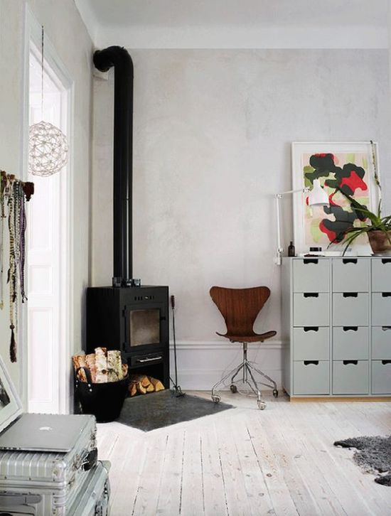 Scandinavian Room Home Wood Burning Stove