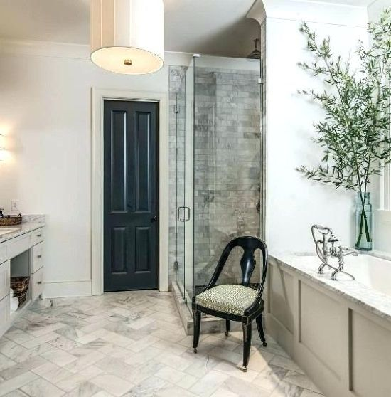 Single Black Door With A Refined Chair