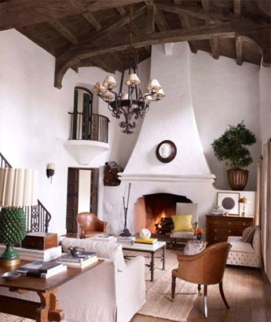 Small Spanish Living Room With White Plaster Walls
