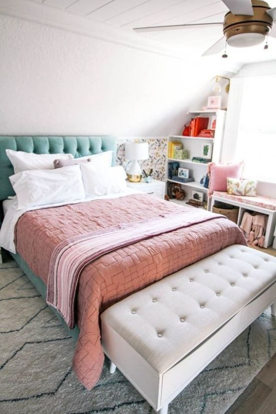 Spring Bedroom Decor With A Floral Half Wall
