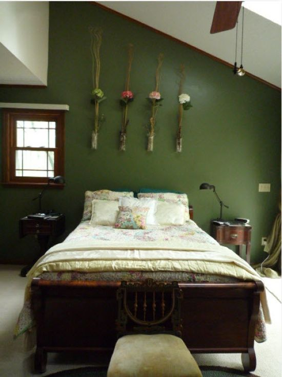 Spring Bedroom Decor With Clear Vases Attached To The Wall