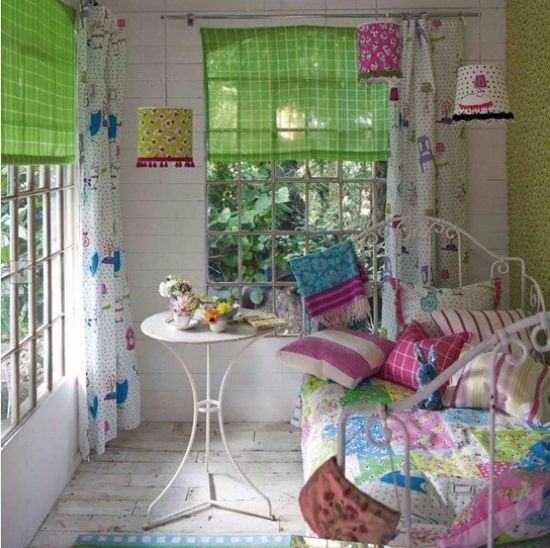 Spring Bedroom Decor With Colorful Lampshades