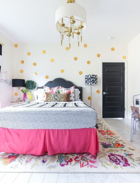 Spring Bedroom Decor With Gold Polka Dots