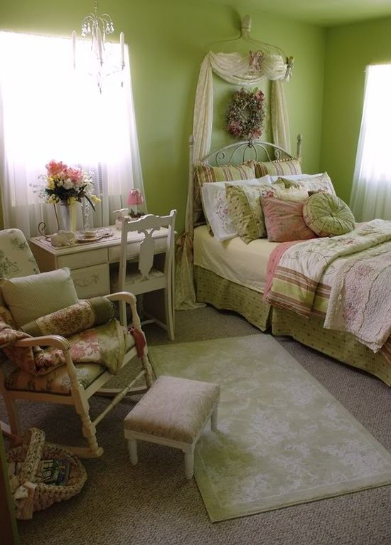 Spring Bedroom Decor With Green Walls And Floral Bedding