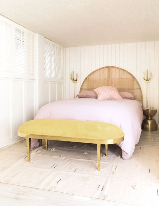 Spring Bedroom Decor With Marigold Upholstered Bench