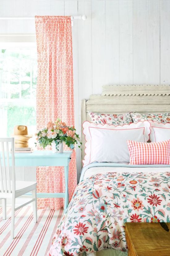 Spring Bedroom Decor With Printed Curtain And Striped Rug