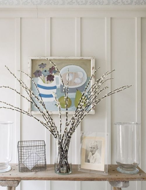 Spring Home Decor With A Clear Glass Vase With Willow