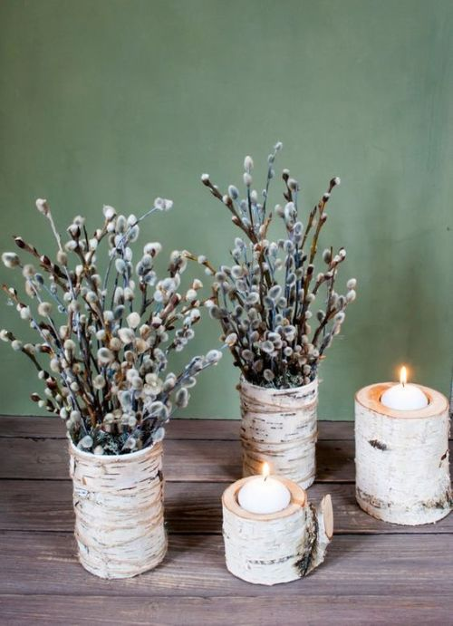 Spring Home Decor With Birch Bark Vases With Willow