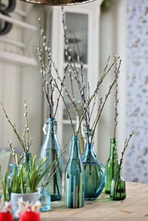 Spring Home Decor With Bottles And Vases With Willow