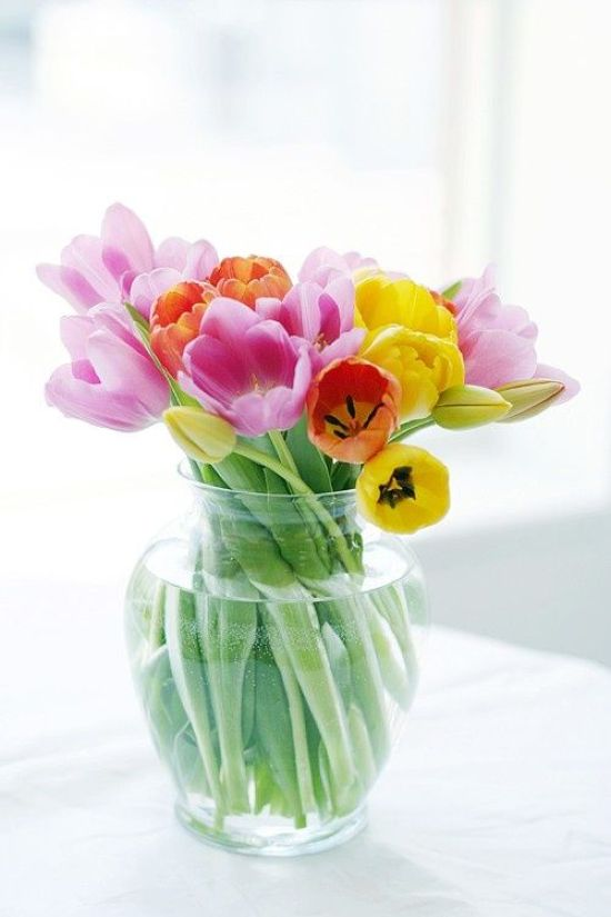 Spring Home Decor With Clear Glass Vase With Colorful Spring Tulips