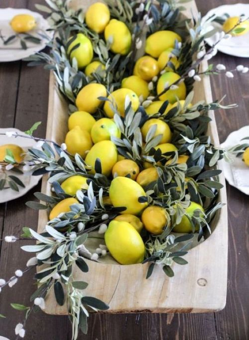 Spring Home Decor With Lemons And Willow