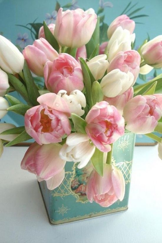 Spring Home Decor With Vintage Tea Can With Pink And White Tulips