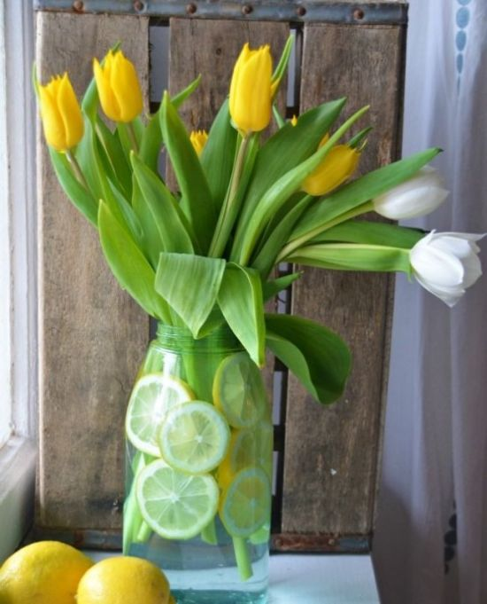 Spring Home Decor With White And Yellow Tulips