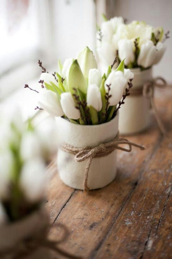 Spring Home Decor With White Vases With White Tulips