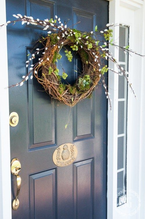 Spring Home Decor With Willow And A Fake Nest With Colorful Eggs