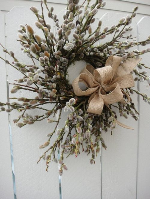 Spring Home Decor With Willow And Accented With A Burlap Bow
