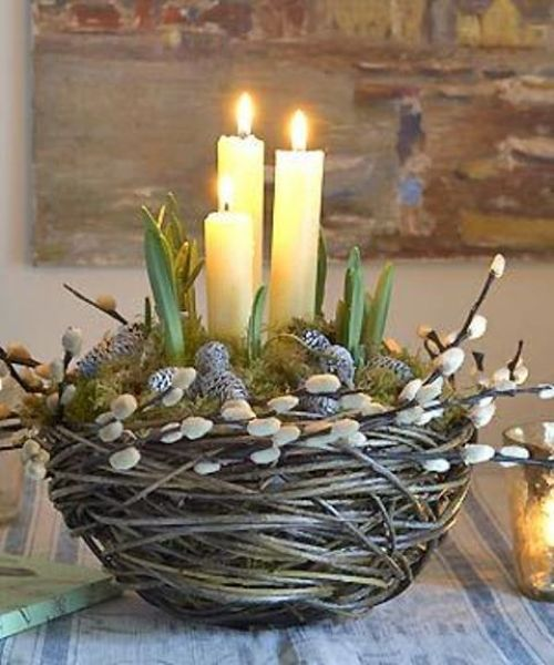 Spring Home Decor With Willow And Whitewashed Pinecones