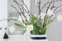 Spring Willow Decor With Black And White Vase
