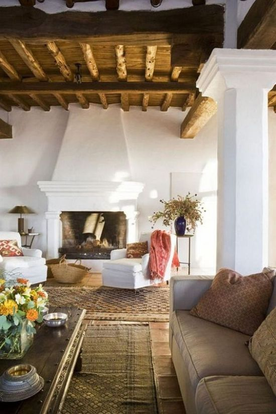 Traditional Spanish Living Room With White Plaster Walls