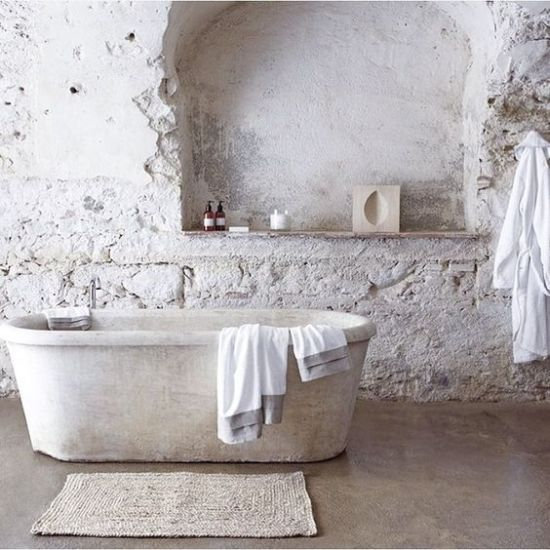 White Bathroom With Stone Bathtub