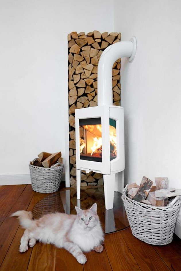 Home Wood Burning Stove With Firewood And Baskets