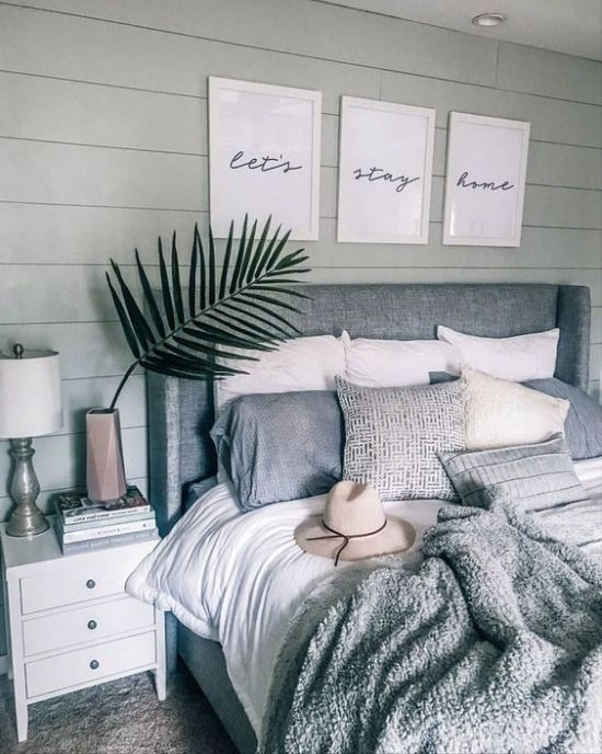 Boho Bedroom In Neutrals With An Upholstered Bed