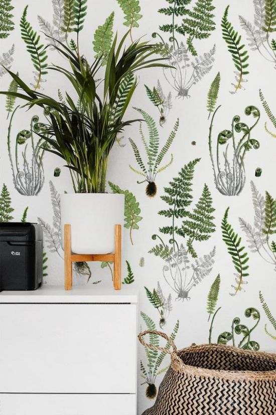 Botanical Wallpaper With Potted Greenery