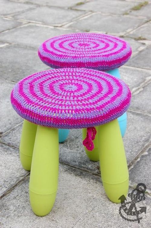 Bright Neon IKEA Mammut Stool With A Colorful Crochet